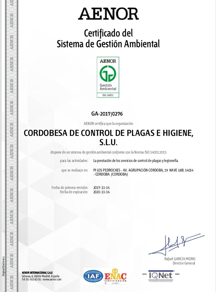 Certificado Medio Ambiental ISO 14001:2015