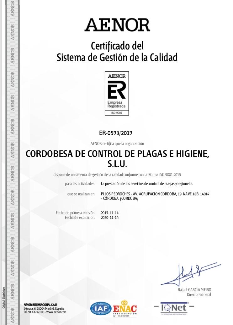 Cordoplagas obtiene los certificados de Calidad y Medio Ambiente