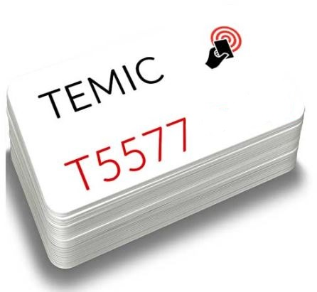 TARJETA DE PVC BLANCA RFID O DE PROXIMIDAD. BAJA FRECUENCIA (125 KHZ) CON CHIP TEMIC
