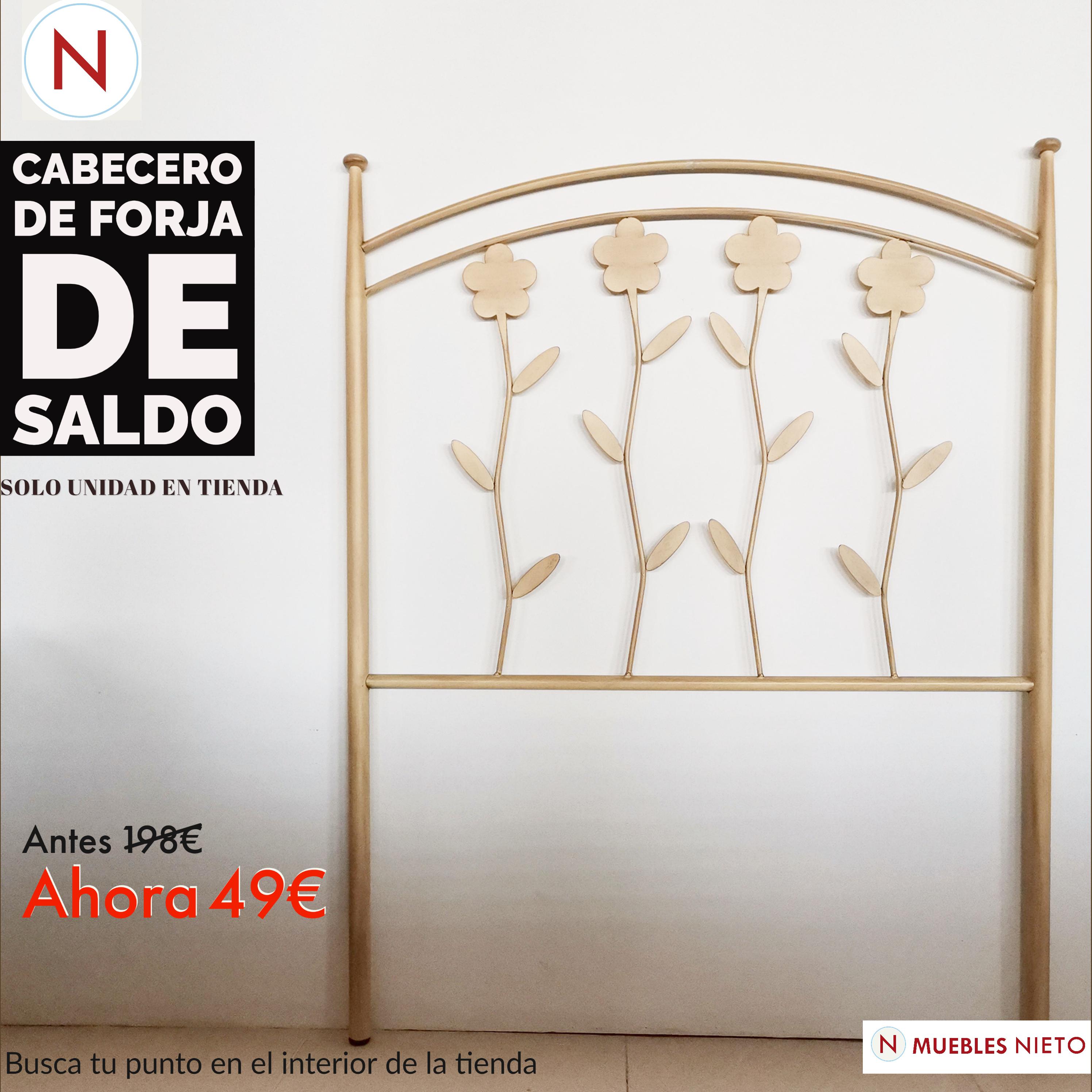 CABECERO DE FORJA FLORES 90CM