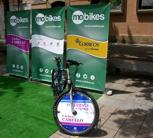 Un ejemplo de bicicleta con publicidad Mobikes
