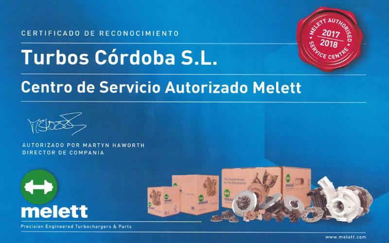 Turbos Cordoba en la Red Oficial de Centros de Servicio Melett